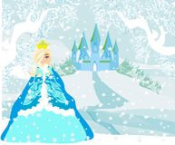 Beautiful young princess in front of her castle. Vector Illustration Stock Photography