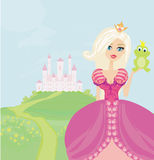 Beautiful young princess holding a big frog. Illustration stock illustration