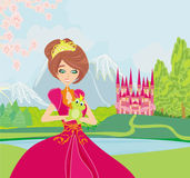 Beautiful young princess holding a big frog. Illustration Royalty Free Stock Photos