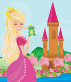 Beautiful young princess holding a big frog. Illustration vector illustration