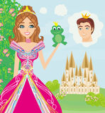 Beautiful young princess holding a big frog. Vector Illustration Royalty Free Stock Photo