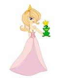 Beautiful young princess kissing a big frog. Illustration Stock Photography