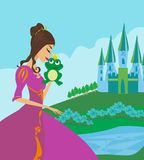 Beautiful young princess kissing a big frog. Vector Illustration vector illustration