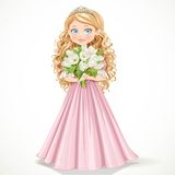 Beautiful young princess in a pink dress holding a bouquet Stock Images