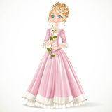 Beautiful young princess in a pink dress holding a white rose Royalty Free Stock Photography