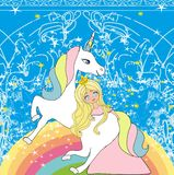Beautiful young princess and unicorn. Vector Illustration royalty free illustration