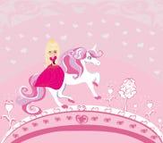 Beautiful young princess and unicorn vector illustration