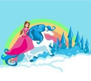 Beautiful young princess on a unicorn vector illustration
