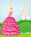 Beautiful young queen in front of her castle. Illustration Stock Images