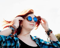 Beautiful young red hair woman sunglasses Stock Photos