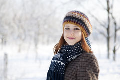 Beautiful young red-haired. Woman in winter park Stock Photos