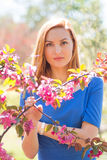 Beautiful young red-haired girl in blue dress among spring flowe Stock Photo