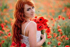 Beautiful young red-haired woman in poppy field holding a bouquet of poppies. Beautiful young woman in poppy field holding a bouquet of poppies, summer Stock Photography