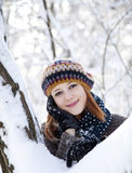 Beautiful young red-haired woman in winter park. Photo #1 Stock Photography