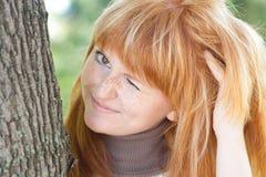 Beautiful young redhead teenager woman Stock Photos
