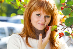 Beautiful young redhead teenager woman Stock Images