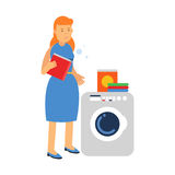 Beautiful young redhead woman doing laundry, holding box of washing powder next to washing machine, home cleaning and homework vec. Beautiful young redhead woman Royalty Free Stock Photography