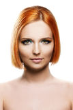 Beautiful young redhead woman  on white background Stock Photo