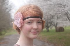 Beautiful Redhead With Blooming Cherry Trees Stock Photos