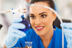Beautiful young scientist Stock Photo