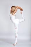 Beautiful young blond woman perfect athlete slim figure stock photo