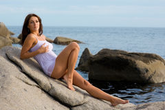 Beautiful young sexy brunette woman Stock Photography