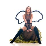Beautiful young sexy girl with angel wings Royalty Free Stock Images