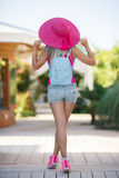 Beautiful young sexy girl wearing summer hat Stock Photos