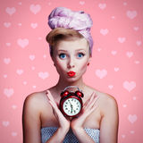 Beautiful young pin-up girl with surprised expression Stock Images