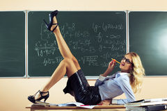 Beautiful young sexy teacher Royalty Free Stock Photo