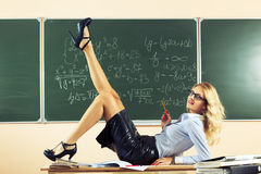 Beautiful young sexy teacher Royalty Free Stock Photography