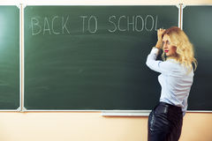 Beautiful young sexy teacher. Standing near the blackboard Stock Images
