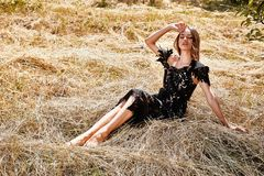 Beautiful young woman long hair bright makeup nature backgr royalty free stock image