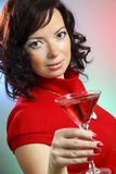 a beautiful young sexy woman with Martini Stock Photos