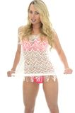Beautiful Young Sexy Woman Wearing a Lacy See Through Mini Dress Royalty Free Stock Photos