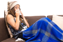 Beautiful young sick girl with a cold Royalty Free Stock Photography