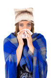 Beautiful young sick girl with a cold Royalty Free Stock Image