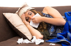 Beautiful young sick girl with a cold Stock Images