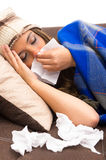 Beautiful young sick girl with a cold Stock Photo