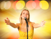 Beautiful young singer Royalty Free Stock Image