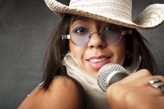 Beautiful Young Singer Royalty Free Stock Photography