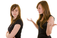Beautiful young sisters arguing Stock Images