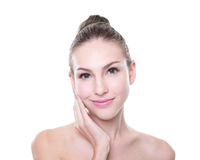 Beautiful young Skin care woman face Royalty Free Stock Photos