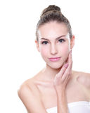 Beautiful young Skin care woman face. Isolated on white background. Skin care or spa concept Royalty Free Stock Images