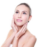 Beautiful young Skin care woman face. Isolated on white background. Skin care or spa concept Stock Image