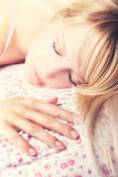 Beautiful young sleeping woman royalty free stock photo