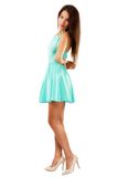 Beautiful young slim brunette woman wearing a blue dress isolate Royalty Free Stock Image