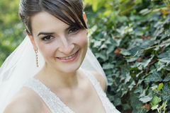 Beautiful Young Smiling Bride at Garden stock images