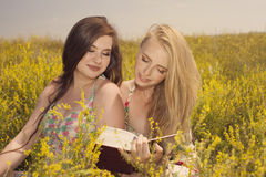 Beautiful young smiling girls reading book against of yellow flo Stock Images