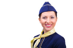 Beautiful young  smiling stewardess. Isolated on a white background Stock Images